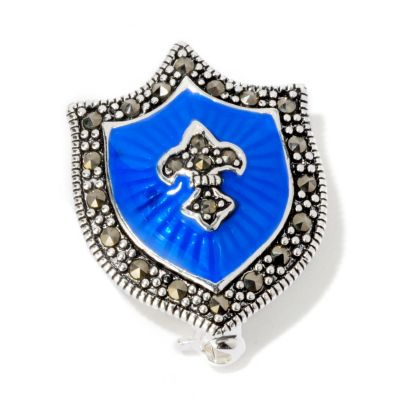 117-935 - Sterling Silver Blue Enamel & Marcasite Shield Pin