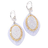 GI SS DRUSY INLAY LACE AGATE EARRING
