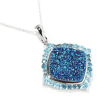 117-948 - Gem Insider Sterling Silver 19mm Blue Drusy & Shades of Topaz Pendant w/Chain