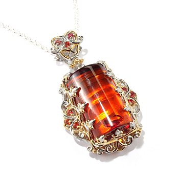 118-023 - Gems en Vogue II Baltic Amber w/ Round Orange Sapphire Accents Pendant w/Chain