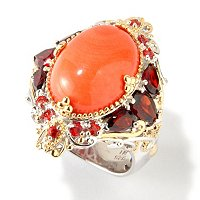 SS/PALL RING CORAL & MULTI-GEM