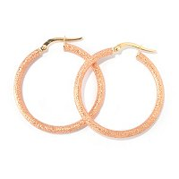 SEMPREGOLD 14K PAVE ROUND HOOP EARRINGS