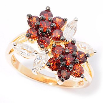 118-154 - NYC II Flower Cluster 1.70 White & Mocha Zircon Ring