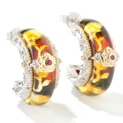 118-164 - Gems en Vogue II Carved Amber Rose Intaglio & Ruby J-Hoop Earrings