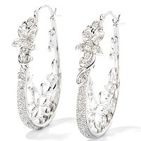 SS WHITE DIAMOND ELONGATED HOOP W/FANCY METAL WORK EARRINGS
