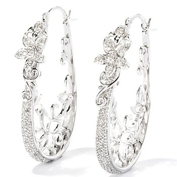 118-173 - Diamond Treasures Sterling Silver .20ctw Diamond Flower Hoop Earrings