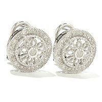 SS VINTAGE LACE ROUND DESIGN DIAMOND EARRINGS .25CTW