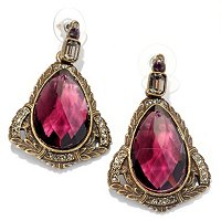 GOLDTONE PURPLE GLASS DROP EARRINGS
