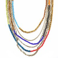 GOLDTONE CRYSTAL BEAD RAINBOW NECKLACE