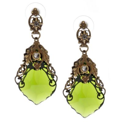 118-236 - Sweet Romance™ 1930s Inspired Filigreed Glass Prism Drop Earrings