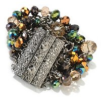 """CRYSTAL BEDAZZLE"" GUNMETAL MULTI STRAND CRYSTAL AND CHAIN MAGNETIC BRACELET"