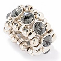 """ENCHANTED"" SILVERTONE AND RHINESTONE CRYSTAL CENTER RING"