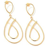 SEMPREGOLD 14K POLISHED AND RIBBED DANGLE EARRINGS