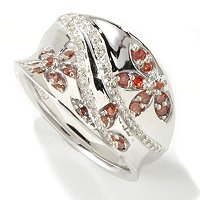 SS PINK & WHITE DIAMOND FLOWER CONCAVE RING .50CTW