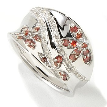 118-432 - Diamond Treasures Sterling Silver Pink & White Diamond Flower Concave Ring