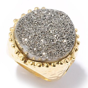 118-634 - Toscana Italiana Gold Embraced™ 20mm Drusy Martellato Ring