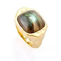 BRONZE/18KGP RING CUSHION GEM W/ MARTELLATO FINISH