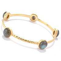 BRONZE/18KGP BRAC GEMSTONE STATION SLIP-ON BANGLE