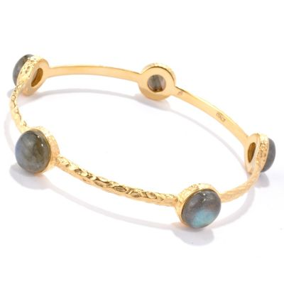 "118-640 - Toscana Italiana Gold Embraced™ 8"" Labradorite Station Slip-On Bangle Bracelet"