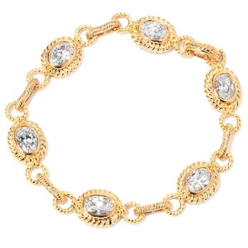 118-641 - DESORO™ Gold Embraced™ Brilliante® Bezel Set Rope Link Bracelet