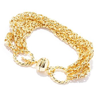 118-691 - Portofino Gold Embraced[ 7.75'' Three-Row Byzantine Bracelet w/ Magnetic Clasp