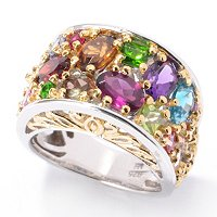 SS/PALL/18KGP RING MULTI-GEMSTONE EXOTIC BAND