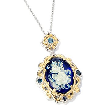 118-720 - Gems en Vogue II Carved Amber, London Blue Topaz & Blue Sapphire Pendant w/ Chain