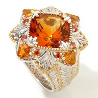 SS/PALL RING CUSHION MADEIRA W/ FIRE CITRINE & ORG SAPH