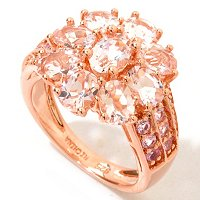 SS/18KV RING MORGANITE W/ PINK SAPH & DIA