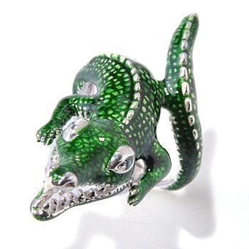 118-864 - Gem Treasures Sterling Silver 0.04ctw Diamond & Enamel Alligator Ring