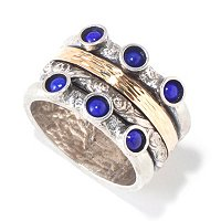 SS/14K SPINNER RING WITH LAPIS
