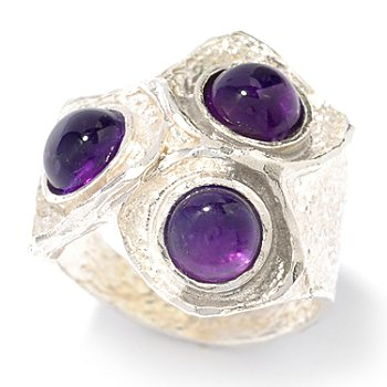 118-946 - Israeli Artisan Sterling Silver 2.40ctw Amethyst Three-Stone Hammered Ring