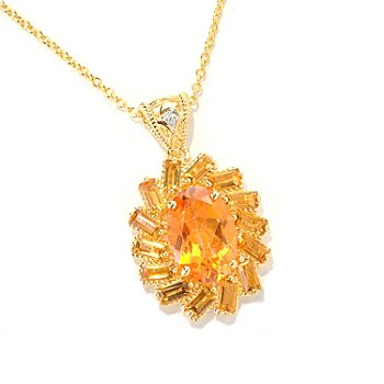 118-973 - NYC II Exotic Topaz & Gemstone Halo Pendant w/ 18'' Chain