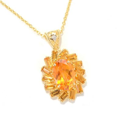 "118-973 - NYC II Exotic Topaz & Gemstone Halo Pendant w/ 18"" Chain"