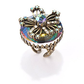 119-028 - Sweet Romance™ Goldtone Iridescent Vittrail Flower Ring