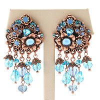 ROSETONE AND AQUA BEAD 1950'S INSPIRED EARRINGS