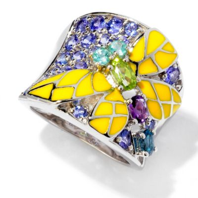 119-060 - NYC II 1.51ctw Multi Gemstone & Enamel Wide Band Dragonfly Ring