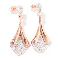 14K RG FOLD OVER PAVE DIAMOND EARRING