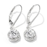 TYCOON SS/PLAT HALO SOLITAIRE DROP EARRINGS