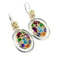 SS/PALL/18KGP EAR MULTI-GEMSTONE OVAL DROP W/ LEVER BACK
