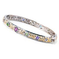 SS/PALL BRAC MULTI-GEMSTONE EXOTIC HINGED BANGLE