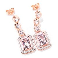14K RG EMER CUT MORGANITE AND DIAMOND EARRING 7X9