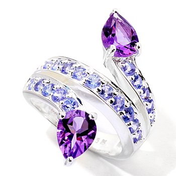 119-150 - Gem Insider Sterling Silver 2.63ctw Amethyst & Tanzanite Wrap Ring