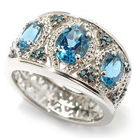 SS/PLAT RING LONDON BLUE TOPAZ & BLUE DIA