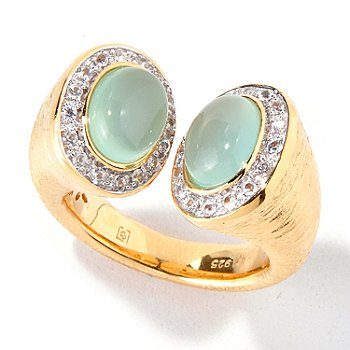 119-164 - Michelle Albala Oval Gemstone & White Sapphire Capped Ring