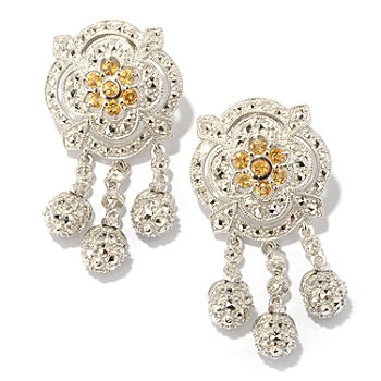 119-227 - Marcasite by Dallas Prince Sterling Silver Chrome Marcasite & Citrine Earrings