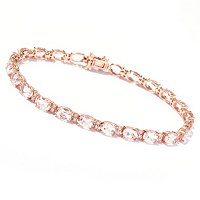 14K RG MORGANITE AND DIAMOND BRAC- OVAL 4X6