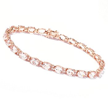 119-235 - Gem Treasures 14K Rose Gold 7.5'' Morganite & Diamond Bracelet