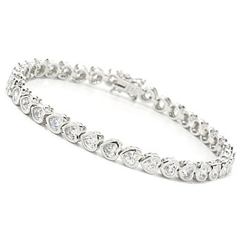 119-349 - Brilliante® Bezel Set Heart Shaped Simulated Diamond Tennis Bracelet