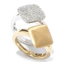 SB SS/TWO-TONE DIAMOND SHAPE SET OF TWO RINGS